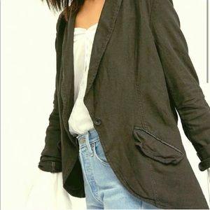 Free People Linen Blend Blazer utility jacket